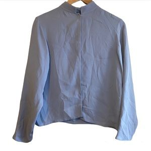 Eileen Fisher Blue Mock Neck Long Sleeve Blouse Size Small